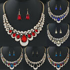 New Fashion Womens Gold Plated Chain Necklace Hook Earrings Crystal Jewelry Sets