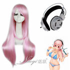 Supersonico Long Straight Pink Cosplay Full Wigs Synthetic Hair+Cos Headphone