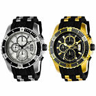 Invicta Men's Pro Diver Chronograph Black Silicone and PU with Colored Dial