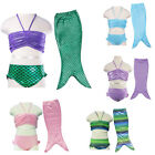 Cute Girls Swimmable Mermaid Tail Beachwear Bathe Bikini Swimming Costume 3-10Y