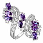 8ct 925 Silver Oval Amethyst 18k White Gold GF Women Engagement Bridal Ring