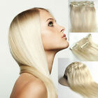 "Full Head Clip in Remy Human Hair Extensions 100% Human Hair #60 16""18""20""22""24"""