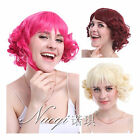 Lolita Red Wine Beige Wavy Cosplay Full Wigs Synthetic Bangs Party Hair