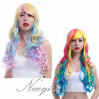 Lolita Long Cosplay Full Wigs Wavy Mixed Colors Anime Synthetic Bangs Hair