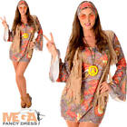 Groovy Hippie Ladies Fancy Dress 1960s 70s Sixties Womens Adults Hippy Costume