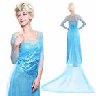 Ladies Womens Princess Queen Elsa Fancy Dress Halloween Costume 4/6 8/10 12/14