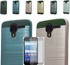 Tempered Glass+2Layer Brush Rubber Case Cover For Kyocera Hydro View/Shore/Reach