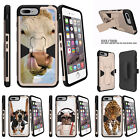 """For Apple iPhone 7 (4.7"""") Gold Case Holster Clip Stand Cow Licking Nose"""