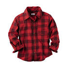 Carter's Boys Red/Black Plaid Botton Down Shirt - Toddler