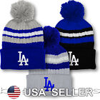 Los Angeles Dodgers Pom Beanie Logo Baseball MLB LA Skull Cap Game Hat Men Knit