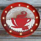 """19.5"""" Rustic Metal and Wood Marquee Round COFFEE Cup Cafe..."""