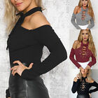 Women Choker Ladies Bardot Deep Plunge Lace up Tie Bodysuit Leotard Top