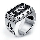 MENDINO Men's 316L Stainless Steel Ring Letter FTW Outlaw Middle Finger Up Biker