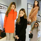 Womens Ladies Wool Loose Pullover Turtleneck Long Outerwear Cardigans Sweater