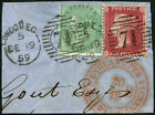1/- SG 72 + 1d SG 40 ON PIECE, tied by neat 'London.1859' CDS and '71' numerals