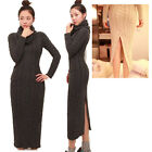 Women's Long Sleeve Turtleneck Knit Sweater Dress Pullover Knitwear Maxi Blouse