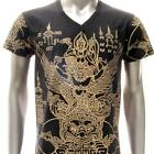 w51 M L XL Japanese Irezumi Tattoo VNECK T-shirt Hindu God Shiva Giant Lord