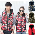 Mens Womens Camo Winter Cotton Hooded Waistcoat Quilted Jacket Vest Tops