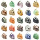 16mm 30mm Carved Skull Natural Energy Stone Crystal Healing Charm Pendant DIY