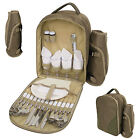 Rucksack Picnic Set Cutlery Glasses Plate Bowl Outdoor Bottle Cool Bag Backpack