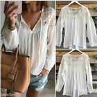 Women Lace Loose Casual Knitted Chiffon Long Sleeve T Shirt Tops Blouse White