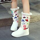 New Winter Womens Sweet Floral Print Fur Trim Warm Mid Calf Snow Boots Plus Size