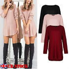UK Womens Jumper Mini Dress Long Sleeves Top Dipped Hem Shirts Blouse Oversized