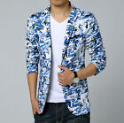 Men's Special Blue Camo Camouflage Bike Print Slim Fit Casual Blazer Coat Jacket