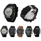 New Men's Fashion Black PU Leather Band Sport Army Analog Quartz Wrist Watch