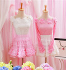 Fashion Sweet Dolly Lolita Kawaii Slim Flower Lace one-shoulder Shirt Blouse Top