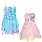 NEW Girls Shiny Sequin Ballet Dress Dance Gymnastic Straps Chiffon Skirt 3-12Y