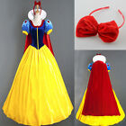 Satin Lady Snow White Fairytale Long Fancy Dress Up Costume Storybook Princess