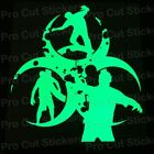 Large Zombie Dead Outbreak Glow in the Dark Luminescent Stickers Decals d2
