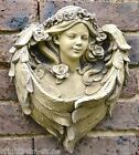 "Angel decorative wall plaque bird feeder ""Rose"" stone garden ornament 33cm/13"" H"