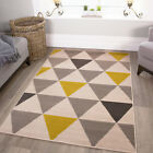 Ochre Mustard Yellow Gold Harlequin Triangles Pattern Living Room Bedroom Rug