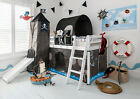 Cabin Bed with Slide Kids Pirate Hideaway with Tent, Tunnel, Tower & Tidy