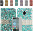 Tempered Glass+Rhinestone Wallet Case Cover For Alcatel One Touch PIXI Avion LTE