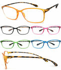 1 or 3 Pair Womens Reading Glasses Retro Square Colorful Thin Frame Tortoise Arm