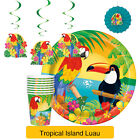 TROPICAL ISLAND LUAU PARTY RANGE (Decorations/Plates/Cups)