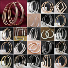 Newest Fashion 925 Silver P Round Charming Women's Hoop Dangle Earrings Jewelry