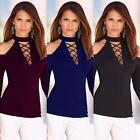 Women Bodycon Long Sleeve Lace-up Jumper Bandage Ladies Casual Tops