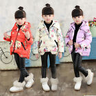 Kids Baby Girls Floral Down Cotton Coats Thick Hooded Jackets Parka Warm Outwear