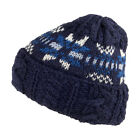 Highland 2000 English Wool Fair Isle Cable Beanie Hat - Navy