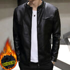 Men PU Leather Casual Fleece Jacket Collar Motorcycle Coats Trench Parka Outwear