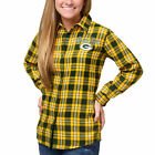 Women's Green Bay Packers Klew Wordmark Flannel Button-Up Long Sleeve Shirt $72.45 CAD on eBay