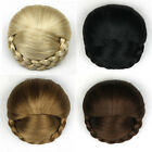 Fashion Chignon Extension Hair Bun With Braids Lady Weave Hairpiece Clip-In Updo