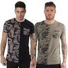 Juice Mens Casual Army Camo Print Chest Pocket T Shirt Crew Neck Cotton Tee Top