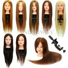 """26"""" 100% Real Hair Practice Training Head Mannequin Hairdressing Doll Clamp"""