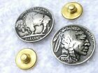 Concho pin brooch badge  authentic vintage Buffalo Indian Nickel coin full horn