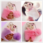 Girl's Luxury Bling Diamond Furry Rabbit Fur 3D Plush Ball Back Phone Case Cover